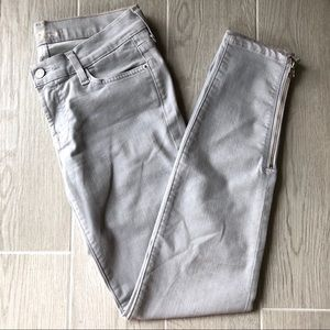 7 for All Mankind gray skinny ankle zipper jeans